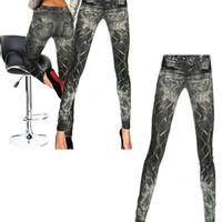 ingrosso guarda i jeans-Leggings skinny da donna slim jeans simil-jeans effetto jeggings