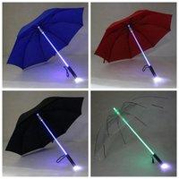 protección de la hoja al por mayor-Paraguas Luz LED Paraguas Paraguas Luz Sable Paraguas Seguridad Diversión Blade Runner Protección Nocturna 4 colores 50 unids OOA2581