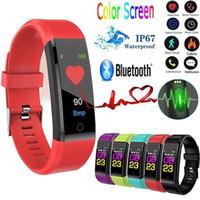 mujer reloj gps tracker al por mayor-Identificación 115Plus inteligente aptitud pulsera Rastreador pantalla colorida de la presión arterial monitor de ritmo cardíaco reloj de las mujeres para el iphone Samsung Huawei Xiaomi