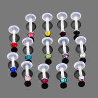 Wholesale acrylic lip labret resale online - 14pcs CZ Jeweled Flexible Bioplastic Acrylic Push in Labret Monroe Lip Bar Stud Tragus Cartilalge Earing Piercing Jewelry g