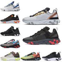cinta amarilla negra al por mayor-React Element 87 55 SE Taped Seams Running Shoes para Hombres Mujeres Rojo Solar Antracita negro Total Orange Mens Trainer Sports Sneakers 36-45