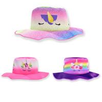 sombreros de cubo para niños al por mayor-Viajes muchacha de la historieta los niños del sombrero del cubo del unicornio playa de la manera del casquillo de los niños del partido del festival lindo sombrero de deporte al aire libre del casquillo de Sun TTA1355-11