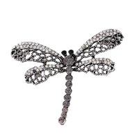 ingrosso sciarpe di gioielli libellula-2019 Vintage Libellula Spilla Donne Insect gioielleria cava Out strass Spille Broches signore risvolto Hijab sciarpa banchetti Pin 10pcs / lot