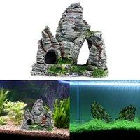 paisagem pedras pedras venda por atacado-Yfashion Aquarium decorativa Paisagismo Resina Pedra Pequeno Rock Island Aquarium Acessórios Pedras para Caves