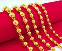 Wholesale solid brass necklace resale online - Solid Beads Beads Beads Necklace Vietnam Sha Jin Pure Brass Gold Plated Jewelry Men