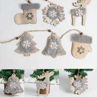 Wholesale rustic christmas decor resale online - Wooden Christmas Embellishments felt Christmas Tree Pendant Rustic Xmas Tree Decor with rope Socks Hanging Pendant xmas Decor props FFA3397