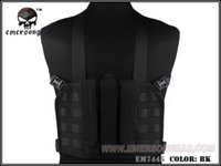 chaleco negro airsoft al por mayor-EMERSON MP7 Tactical Chest Rig Chaleco táctico Airsoft Paintball Military Army Combat Gear Negro EM7445 # 348676