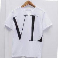 estilos de italia dos homens venda por atacado-Itália mulheres de luxo marca designers de estilo DCClássico Valentino Grande V letra da cópia dos homens T-shirt de algodão de manga curta caixa solta streetwear