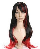 красные черные парики аниме оптовых-WIGLL 1103 +++ Новый Cos Черный и Красный Длинный Аниме Косплей Костюм Парик