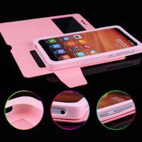 funda alcatel billetera al por mayor-Ventana universal Pull Up Down Wallet PU Flip Funda de cuero para 3.5 4.0 4.3 4.7 5.0 5.5 6 pulgadas Teléfono celular móvil Alcatel Huawei XiaoMi MOTO LG