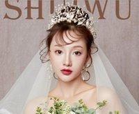 yeni gelin tacı toptan satış-Gelin Taç Headdress 2018 Yeni Süper Ölümsüz El Yapımı Boncuk Evlilik Saç Süs Evlilik