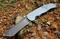 cuchillo plegable de titanio azul al por mayor-Envío local en los Estados Unidos! Cuchillos Grimsmo a medida Norseman BÖHLER M390 Hoja Panal Anodizado Azul Titanio Mango Cuchillo plegable táctico NIB