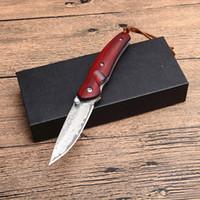 facas de damasco de qualidade superior venda por atacado-Top Quality Damasco Pequeno Bolso Faca Dobrável de Aço Damasco Ponto de Queda de Lâmina Rosewood Handle EDC Engrenagem Facas de Presente