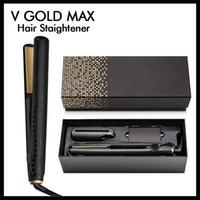 uk altın toptan satış-Kutu AB ABD AU UK Tak Taşınabilir V Altın Max Saç Düzleştirici Klasik Profesyonel şekillendirici Hızlı Saç Demir Saç Şekillendirme aracı