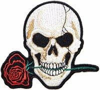 ağır metal yamaları toptan satış-Kırmızı Gül Aşk Asla Die Oyna Boy kafatası Hayalet İskelet Biker Lady Rider Hippie Punk Rock Ağır Metal Dövme Yama Motifi Aplike