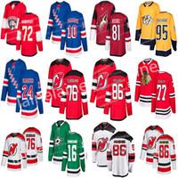hockey jerseys großhandel-2019 New Jersey New York Rangers Eishockeytrikots 24 Kaapo Kakko 10 Artemi Panarin Devils 76 P. K. Subban 86 Jack Hughes-Trikot