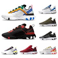erkekler için hafif koşu ayakkabıları toptan satış-Nike react 87 55 Light Orewood Brown Undercover X React Element 87 Mens Running Shoes for Men Women Red Orbit Orange Peel Black white Trainer Sports Sneakers