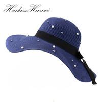 décorer des chapeaux de paille achat en gros de-Mode Femmes Fille Floppy Hat Large Large Bord Été Dames Plage Paille Soleil Chapeaux Faux Perle Décorer Pliant Sunhat Sunbonnet