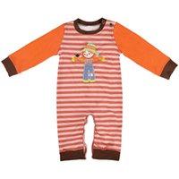 bebek cadılar bayramı kostümleri toptan satış-Yeni Bebek Kız Erkek Romper Çocuklar Çizgili Kabak Karikatür Tulum Moda Cadılar Bayramı Kostüm Kız Giyim