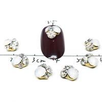 encanto de piedra opal al por mayor-5 Unids / lote Flor 3D Estilo Rhinestones Para Uñas Diseño Encantos Rojo Negro Piedra Preciosa Mixta Blanco Ópalo Diamante Piedra Joyería suministros