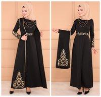 black abaya großhandel-Muslimische arabische Abendkleider Lange Ärmel Schwarz Dubai Kaftan Abendkleider Islamische Abaya Marokkanische Abendkleider