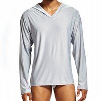 camisa camisa de pijama venda por atacado-Homens Pijama Lounge Casa Sleepwear Camisas Regata de Manga Longa Sexy Nightwear Sleep Shirt Mens Ver Através