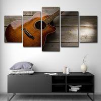 guitarra de cartazes venda por atacado-HD Impresso 5 Peça Da Arte Da Lona Clássica Guitarra Pintura Poster Vintage Parede Pictures para Sala de estar Frete Grátis
