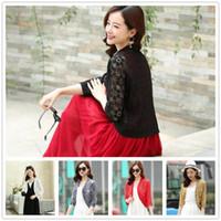 Wholesale red shrug jacket resale online - White Black Red Yellow Women Short Sleeve Shrug Bolero Lace Wedding Bridal Summer Jacket Elegant Lace Cape Puls Size