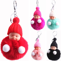 Wholesale kids car backpacks for sale - Group buy Sleeping Doll Keychain Cartoon Pom Pendant Backpack Shoulder Bag Hanging Car Key Ring Pendant Cute Kids Toy Gift HHA1067