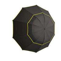 paraguas plegable de golf al por mayor-Tres paraguas de golf plegable Moda duradera a prueba de viento lluvia portátil grande secado rápido sol anti UV viaje regalo de doble capa