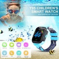 reloj infantil rojo al por mayor-Y95 Llamada telefónica para niños Ver videollamada 4G Red AI Pago WiFi Citas GPS Posicionamiento Bebé Anti-pérdida Sport Tracker Watch