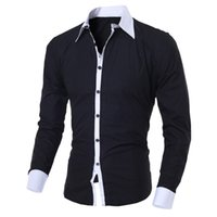 chemise habillée élégante achat en gros de-Marque Casual Shirts Hommes D'affaires Hommes Robe Chemises À Manches Longues En Coton Élégant De Haute Qualité Les Hommes Sociales Chemises