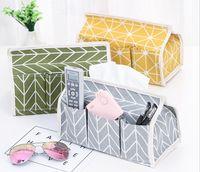 Wholesale green napkin holder for sale - 6 Pockets Cotton Tissue Box Multifunctional Desktop Pumping Napkin Paper Holder Waterproof Paper Towle Case Storage Bag