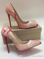 bas rouge vente de pompes achat en gros de-2019femmes chaussures bas rouges hauts talons sexy bout pointu robe vente chaude patchwork bas rouges hauts talons rivets cloutés chaussures sexy femmes pompes