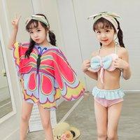 купальные платки оптовых-2018 2019 новый 3 шт летние девушки купальник + бабочка Шаль бикини детский купальник