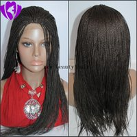 Wholesale glueless lace wigs large for sale - Group buy Cheap Synthetic Micro Braided Lace Front Wigs Glueless Long braided Lace Wigs with Baby Hair Natural HairLine for Black Women Half Hand Tied