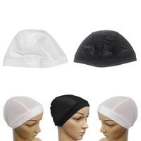 turbante negro al por mayor-2 piezas de malla Turban estirable Head Wrap Chemo Sleep Cancer Hat Skull Caps Beanie Black White