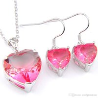 Wholesale pink topaz jewelry set for sale - Group buy Luckyshine Wedding Jewelry Sets silver Bi Colored Tourmaline Heart Zircon Fashion Earring Necklace Pendants Jewelry Sets For Women