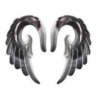 asas de acrílico venda por atacado-2 PCS Tampões de Ouvido e Túneis de Acrílico Asa de Anjo Design Espiral Plugs Medidores de Orelha Alargador De Orelha Expander Jóia Do Corpo Piercings