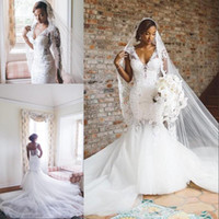 Wholesale african plus size bride wedding dresses resale online - African Tulle Mermaid Wedding Dresses Lace Applique V Neck Capped Sleeves Wedding Gowns Zipper Sexy Back Trumpet Bride Dress