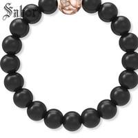 relógios onyx venda por atacado-Onyx preto Beads Pulseira Homens Rose Gold Crystal Charme Pulseiras para Mulheres Assista Acessórios Jóias jóias