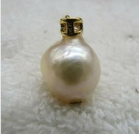 Wholesale golden south sea pearls pendants for sale - Group buy charming mm south sea natural White pearl k yellow golden pendant neckl