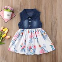 resmi gömlekler toptan satış-Pudcoco Yeni Marka Çocuklar Bebek Kız Kolsuz Elbise Prenses Gömlek Denim Çiçek Pageant Parti Kıyafeti Örgün Elbise