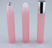 frascos de plástico de 15 ml venda por atacado-50pcs 15ml rolo de plástico na garrafa / aço talão amostra de perfume bola Vial, pequeno frasco de óleo tampa de óleo de metal Lip Essencial / tubo-de-rosa