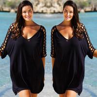 siyah artı boyutu bluzlar toptan satış-Gevşek Artı Boyutu Kadınlar Yaz Siyah Bluz Beachwear Kapak Up Bayanlar Plaj Giyim Oymak Tops