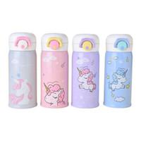 ingrosso bottiglia di bambini fumetto-Bella Unicorno Vacuum bottiglie d'acqua in acciaio inox isolato Cute Cartoon Animal bambini bottiglie d'acqua per bambini 350ML tazza di acqua all'aperto TTA53