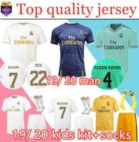 kit futbol al por mayor-2019 20 Real Madrid Soccer Jersey HAZARD home away camiseta de fútbol para adultos ASENSIO ISCO MARCELO madrid 19 20 kit para niños Uniformes de fútbol