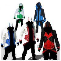 assassins credo mens jaqueta venda por atacado-Venda quente Assassins Creed 3 Connor Kenway Hoodies dos homens Casacos com capuz Cosplay Jackets Plus Size Masculino Uniforme Casual Coats COS Jackets XXS-5XL