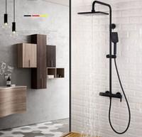 Wholesale brass arms resale online - Matt Black Functions Brass Bathroom Shower Set Bath Shower Faucet Inch ABS Shower Head Adjust Arm