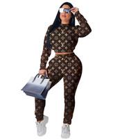 сексуальные туфли с длинными рукавами оптовых-Письмо печати спортивные костюмы спортивный костюм 2019 весна осень сексуальные женщины круглый вырез с длинными рукавами топы + узкие брюки наряд 2 шт. набор бег костюм